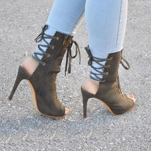 Open Toe Lace-up Ankle Booties