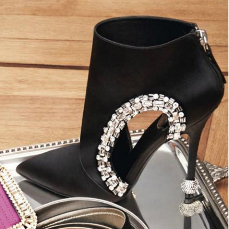 Bling Bling Crystal Cut-out Dress Boots