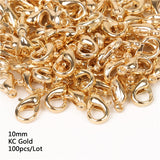 10/12/14/16mm 100pcs Metal Lobster Clasps Hooks Silver/Gold/Rhodium/Gun Black/Bronze Lobster Clasps Hooks For Jewelry Making Finding DIY Necklace