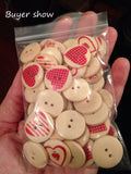 Heart Wooden Buttons (50 Pcs)