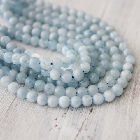 Round Natural Aquamarine Beads 4mm  Approx 95 pcs About 15 inch Strand