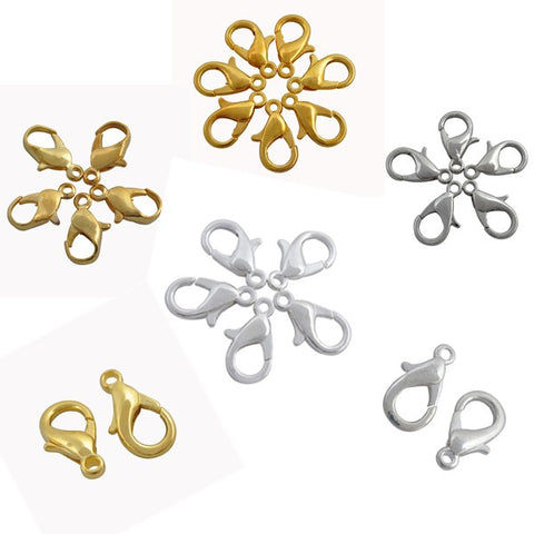 12mm Gold & Silver Plated Alloy Lobster Clasps (50 Pcs)