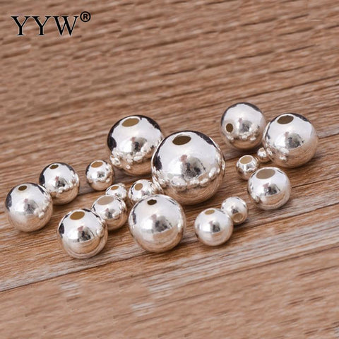 925 Sterling Silver Beads Round 2/2.5/3/4/5/6/7/8/10/12/14/16mm DIY Jewelry Bracelet Necklace Loose Ball Silver Findings Hotsale