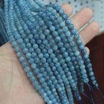 Natural Aquamarine Gemstone Beads  6mm, 8mm Round for DIY Jewelry Making Strand 15""