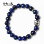 Natural Stone Bead Bracelet Boho with Buddha Charm