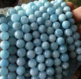 "Natural Aquamarine Blue Round Beads 6mm-12mm  15"" Strand  For DIY Jewelry Making"