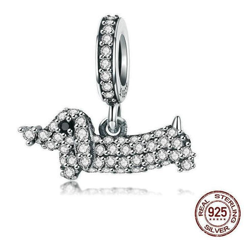 Dachshund Pendant Charms Fashion Jewelry 925 Sterling Silver Crystal Fit Bracelets & Necklaces Chain