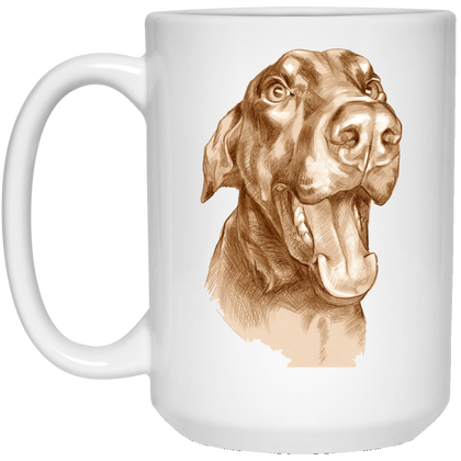 HAPPY DOBERMAN Funny 15 oz. White Mug