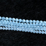 Genuine Natural Green Blue Aquamarine Semi-precious stones Round Loose Beads 4mm 6mm 8mm 10mm 12mm 15""