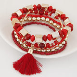 Bohemian Beach Style Bracelets 5pcs/set. Candy Color Multilayer Beaded Bracelets with Tassel Charm