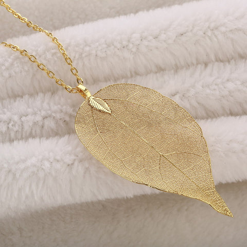 Long Necklace with Pendants on Link Chain Natural Leaf Electroplated 7 color options