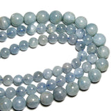 AAA Natural Aquamarine Round  Stone Beads For Jewelry Making DIY Bracelet Necklace Material 6-8mm Strand 15''