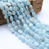 Natural Aquamarine Gemstone Beads 8-10mm Irregular Flat Round Beads For Jewelry Making 15 inches Strand