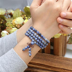 Natural Sodalite Healing Crystal 108 Buddhist Mala Bracelet - Necklace