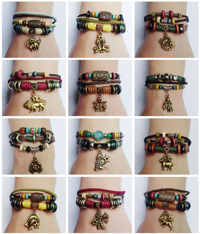 SALE 20% OFF 12 Zodiac Signs Charm Bracelet. Boho Style Multilayer Horoscope Bracelet Leather & Hemp & Wood Beads