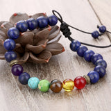 Chakra Natural Stone Beads Bracelet. Adjustable Healing Bracelet For Women