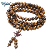 108 Tibetan Buddhist Mala Natural Tiger Eye Gem Stone Bead Dual-use Necklace Bracelet Wrapped Wood Prayer for Meditation