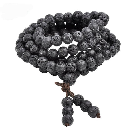 Mala 108 Buddhist Prayer Beads Tibetan 6mm 8mm Natural Lava Rock Stone Healing Gem Stone  Bracelet Necklace
