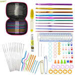 Looen Brand 90pcs Crochet Hooks Set Aluminum Knitting Needles Yarn Craft Kit Knitting Accessories with Pink Case For Women Gift