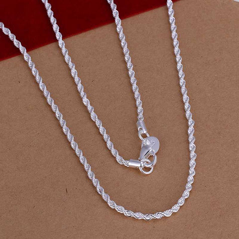 Sterling Silver Plated Necklace Women Man necklace 2mm 16 18 20 22 24 inch Twist Rope Chain jewelry accesory 925 stamp