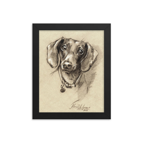 Dachshund Art Print Portrait • Wood Framed Poster On Matte Paper • Doxie-7 Poster.
