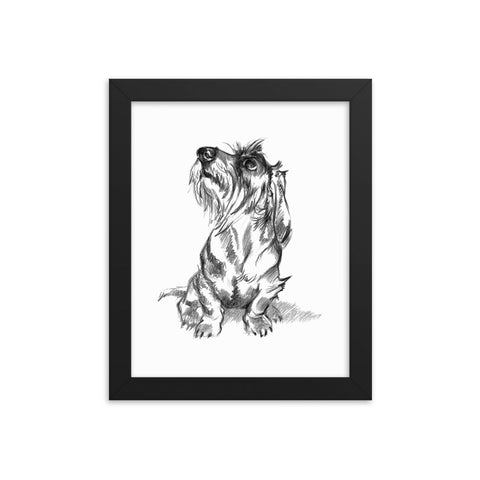 Wire Dachshund Art Print Portrait • Wood Framed Poster