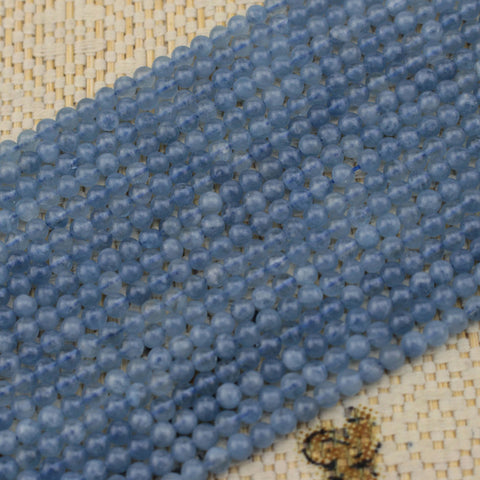 Natural Aquamarine Gemstone Beads. Round Beads For DIY Jewelry Making. Strand 15""