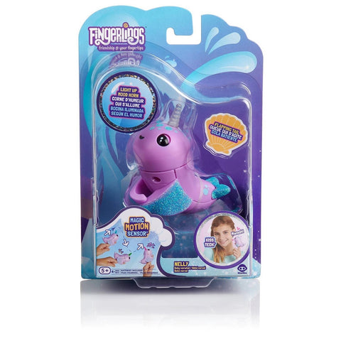 Fingerlings Light Up Narwhal. Nelly (Purple)