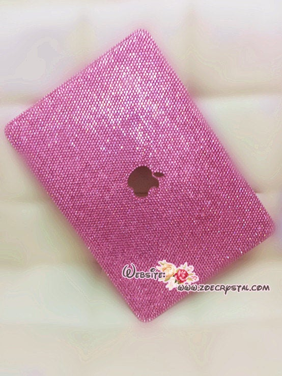 MACBOOK Air Pro Case Cover w Bedazzled Sparkly Shinny Fuchsia Crystal Rhinestones Kim Kardashian Celebrites Luxurious