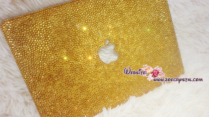 MACBOOK Air Pro Case Gold Crystal Rhinestone Diamond Sparkly Shinny Random Topaz Bejeweled