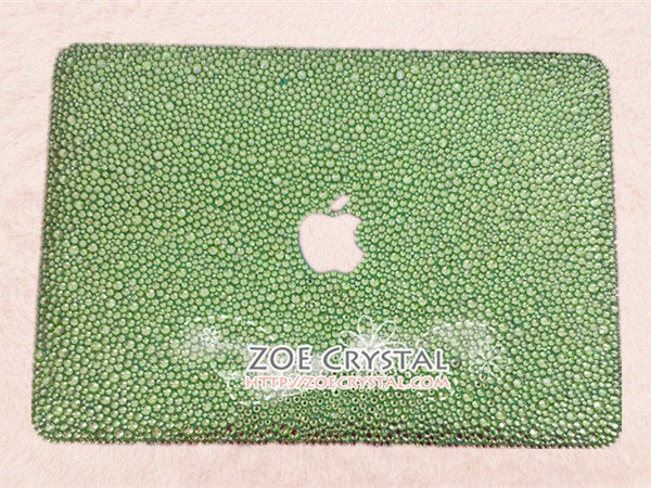 MACBOOK Air Pro Case / Cover w Rhinestone Crystal Random Sizes Emerald Bejeweled Shinny Sparkly Gitter