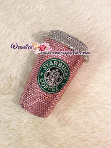 Stylish BLING Crystallized STARBUCKS Ceramic Pink Mug / Cup