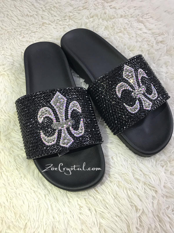 PROMOTION 20% off New Item - Fashionable Cool Black SANDALS / SLIDES with Cross