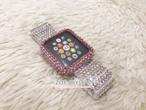 Apple Watch Bedazzled Bling Pink Crystal Case / Protector / Cover  Silver White Swarovski Rhinestone iWatch Band / Strap