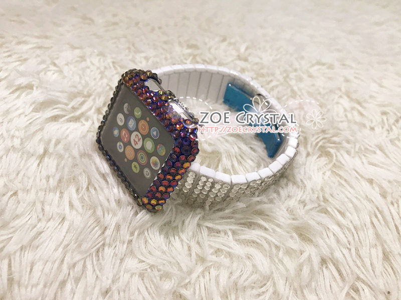 Bedazzled Apple Watch Bling Volcano Blue Flame Crystal Case Cover Protector w White Swarovski Rhinestone iWatch Band / Strap