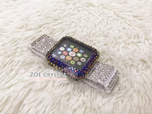 Bedazzled Bling Apple Watch Volcano Crystal Case / Protector / Cover with a White Swarovski Rhinestone iWatch Band / Strap