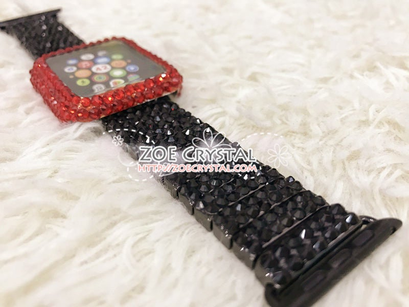 Apple Watch Bling Red Swarovski Crystal Case / Protector / Cover with a Black Rhinestone iWatch Band / Strap