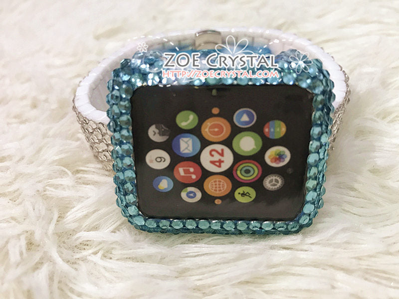 Apple Watch Lake Blue Bling Crystal Case / Protector / Cover with a Silver Swarovski Rhinestone iWatch Band / Strap