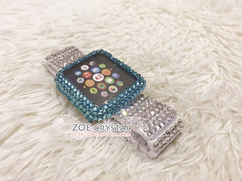 Bling Apple Watch Lake Blue Crystal Case / Protector / Cover with a Silver Swarovski Rhinestone Watch Band / Strap