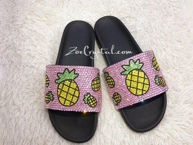 PROMOTION 20% off New Item - Fashionable Summer Pink SANDALS / SLIDES with Pineapples