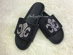 Fashionable Cool Black SANDALS / SLIDES with Cross