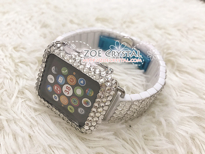 Apple Watch Bling Strass Clear white Swarovski Crystal Case Protector Cover Luxury with a White Rhinestone iWatch Band Strap