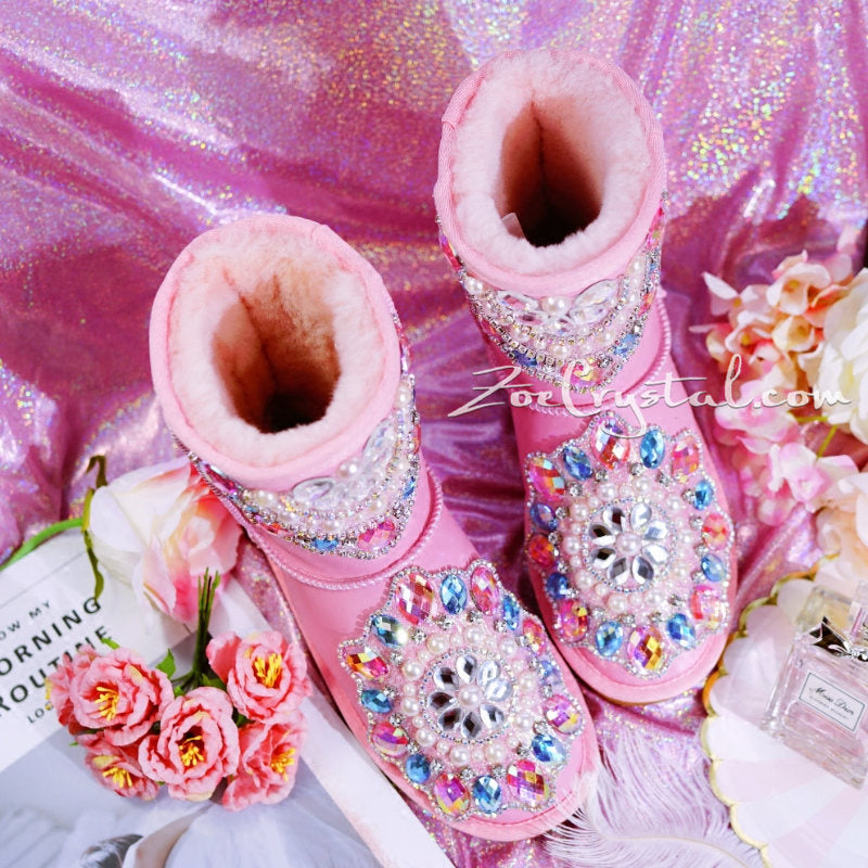 New**Pink Sheepskin Fleech/Wool Boots with shinning and stylish CRYSTALS - New Flower Style