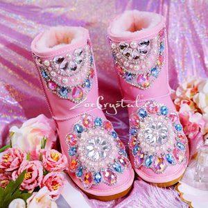 Pink Sheepskin Fleech/Wool Boots with shinning and stylish CRYSTALS - New Flower Style