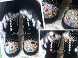 WINTER Black Fur Bling and Sparkly SheepSkin Wool BOOTS w shinning Czech or Swarovski crystal in LOLITA Style