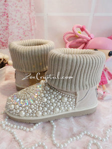PROMOTION WINTER Beige Knit Sheepskin Fleech/Wool Boots with shinning and stylish CRYSTALS
