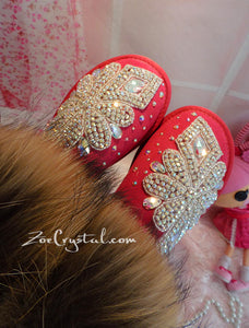 PROMOTION WINTER Bling and Sparkly Real Fur SheepSkin Wool BOOTS w shinning Czech or Swarovski Crystals