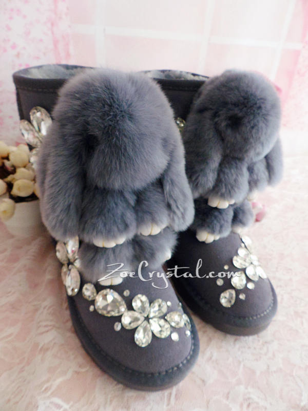New **PROMOTION WINTER Bling and Sparkly Rabbit Fur SheepSkin Wool BOOTS w shinning Czech or Swarovski Crystals