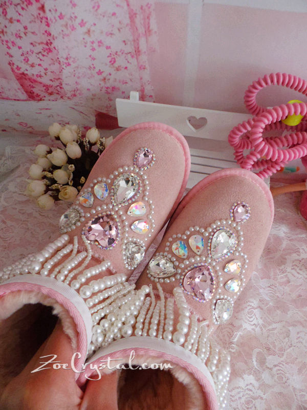 New **PROMOTION WINTER Pink Sheepskin Fleech/Wool Boots with shinning and Princess CRYSTALS Pearls