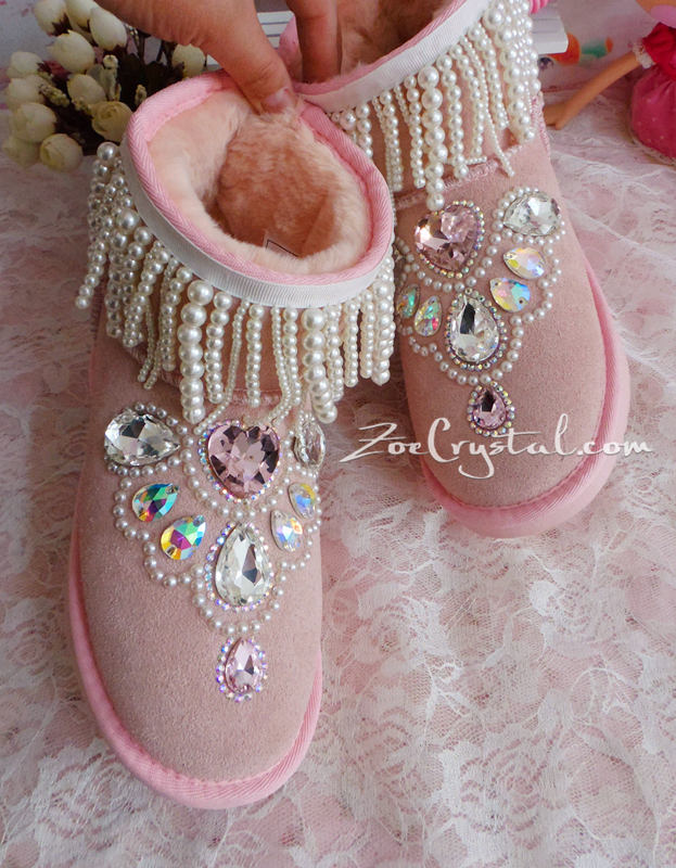 PROMOTION WINTER Pink Sheepskin Fleech/Wool Boots with shinning and Princess CRYSTALS Pearls